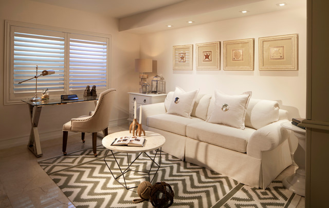 Awesome Home Office   Contemporary Freestanding Desk Home Office Idea In Miami With  White Walls