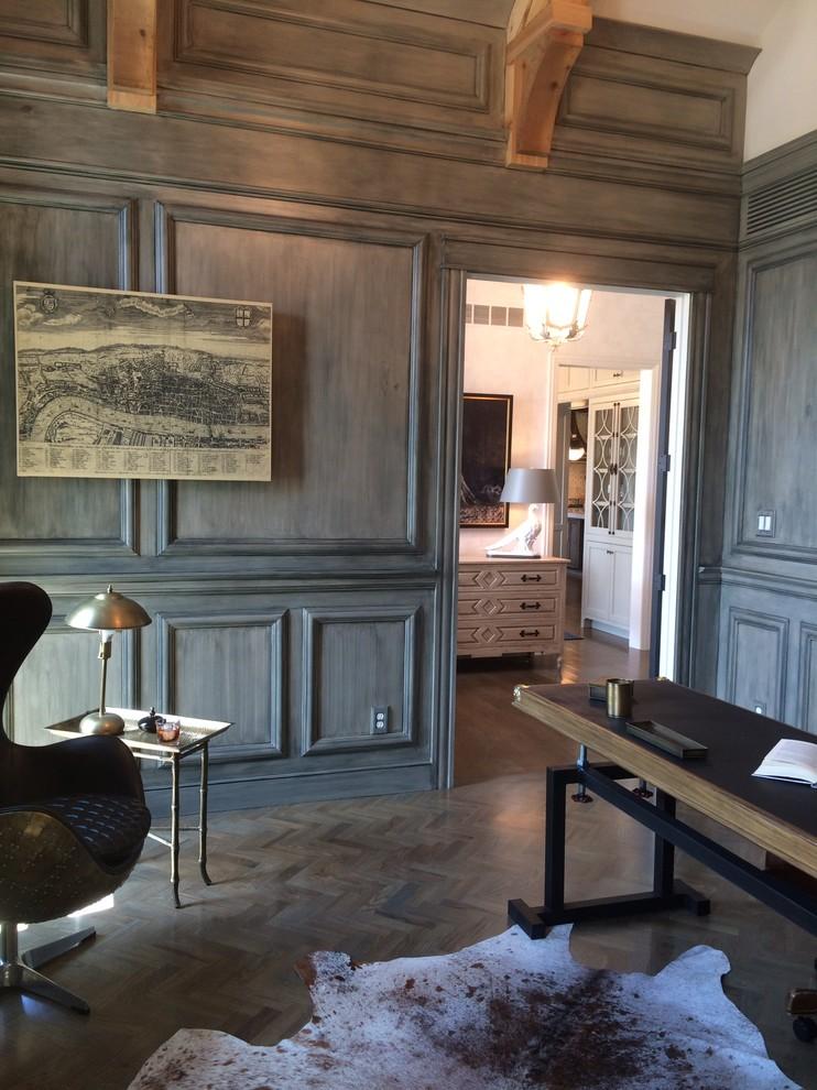 Large elegant freestanding desk dark wood floor study room photo in Cincinnati with gray walls and no fireplace