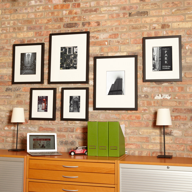 Gallery wall for home office modern home office and library