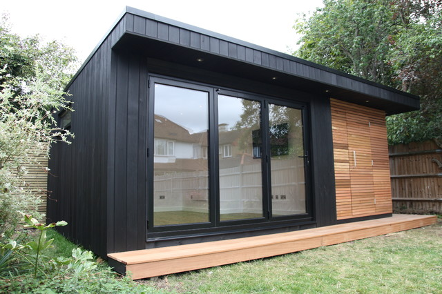 Garden office with storage shed and sauna trendy for Glass garden office