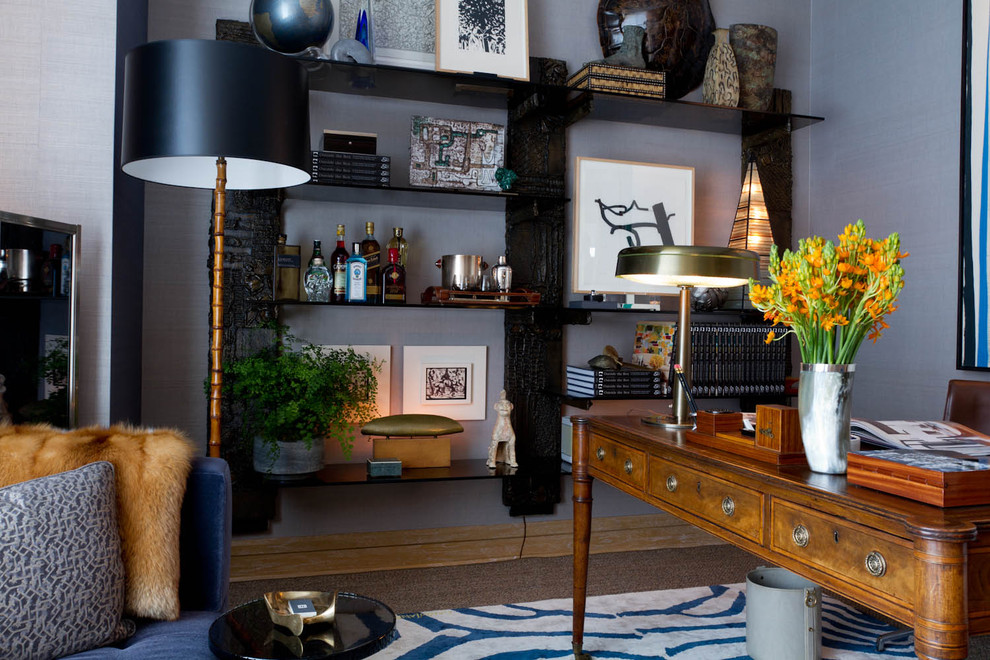 Home office - contemporary home office idea in New York with blue walls