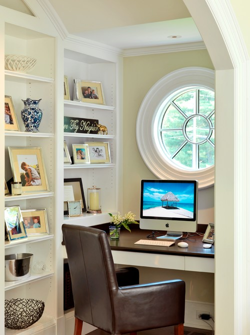 Brown furnishings in a #homeoffice