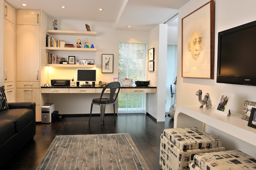 Trendy built-in desk dark wood floor home office photo in Other with white walls and no fireplace