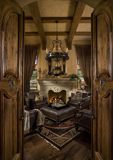 Grand Fireplaces Mediterranean Home Office Phoenix