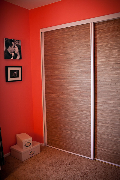 Grass Cloth Covered Closet Doors eclectic-home-office