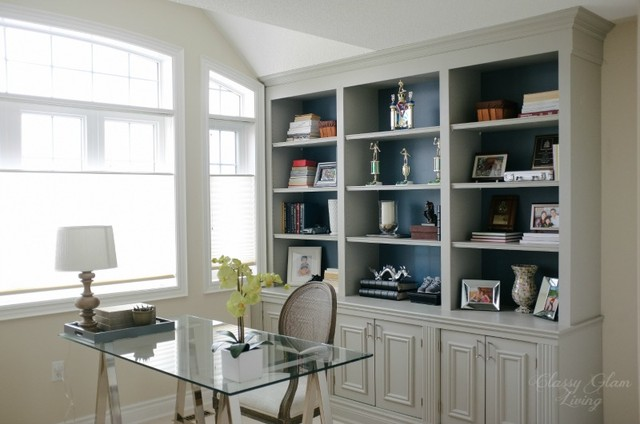 Gray Built-in Bookcase in Home Office - Traditional - Home Office - toronto - by Classy Glam Living