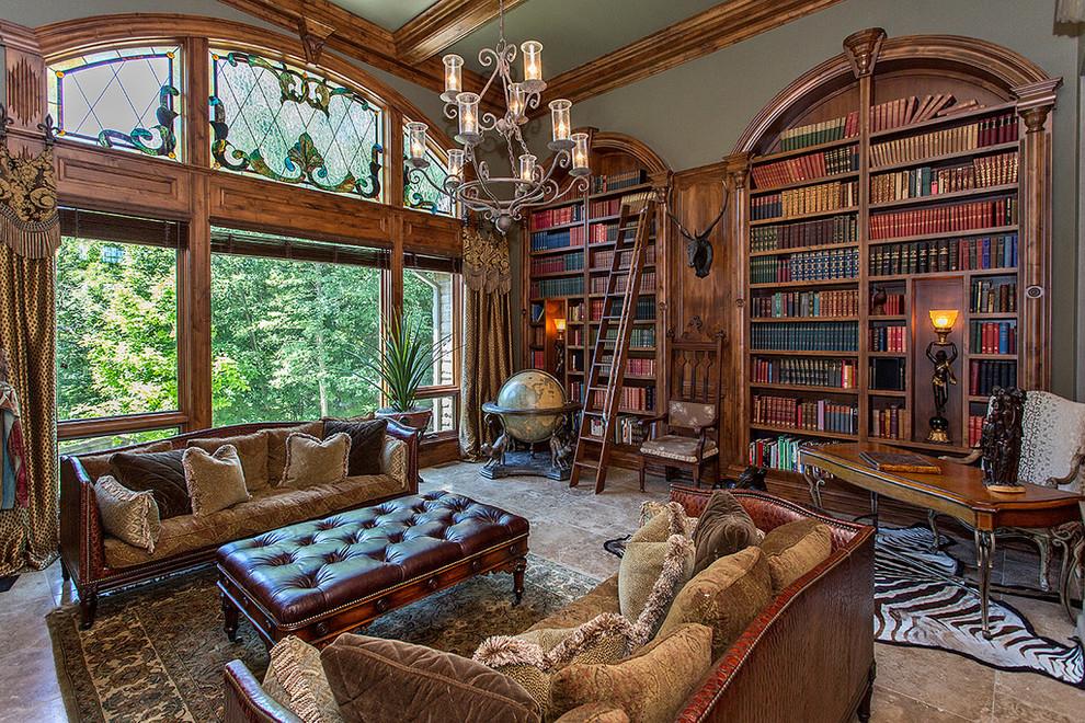 Idées déco pour un bureau classique avec un mur gris, un bureau indépendant et un sol beige.