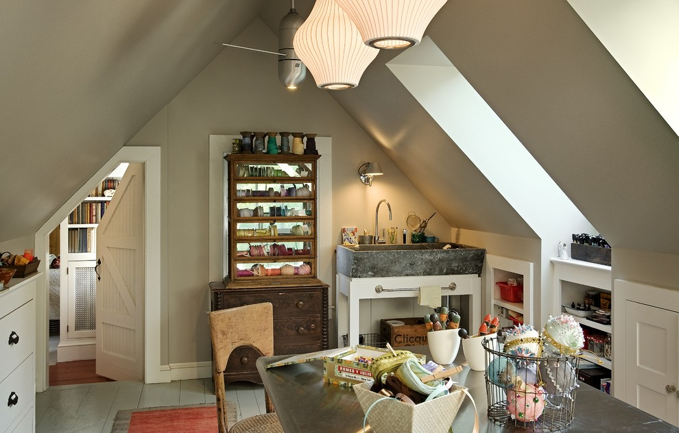 Home office - traditional painted wood floor and gray floor home office idea in Burlington