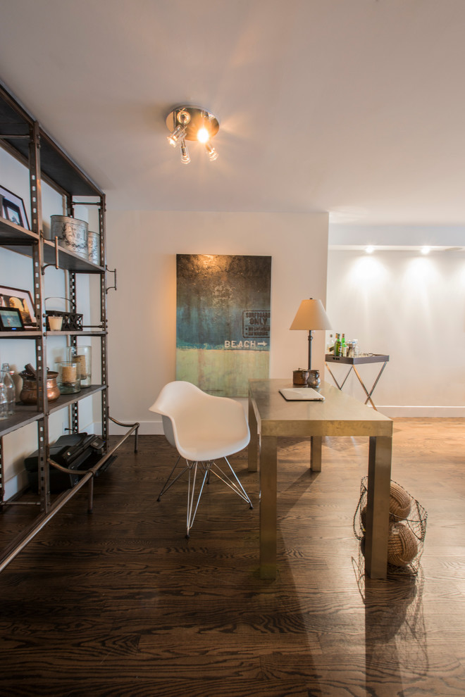 Urban home office photo in New York with white walls
