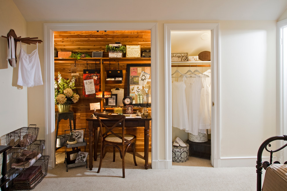 Example of a small cottage chic freestanding desk carpeted study room design in Philadelphia