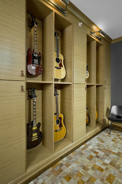 Guitar Wall - Contemporary - Home Office - Chicago - by Fredman Design Group