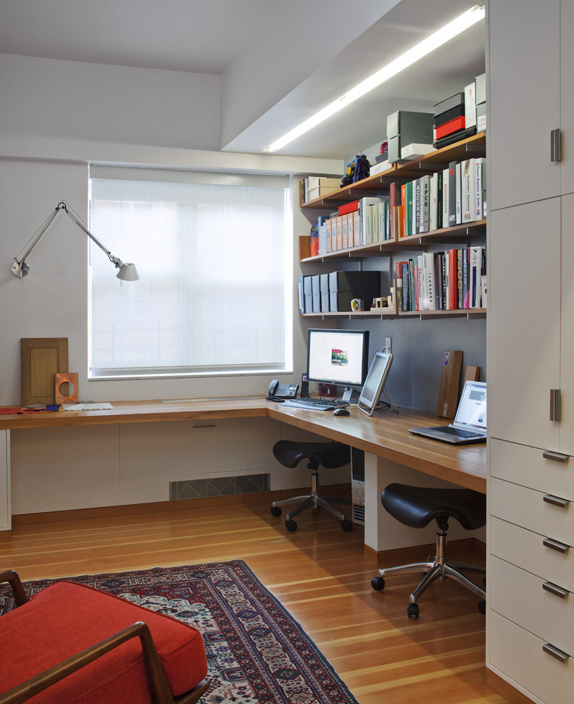 contemporary design home office with red chair