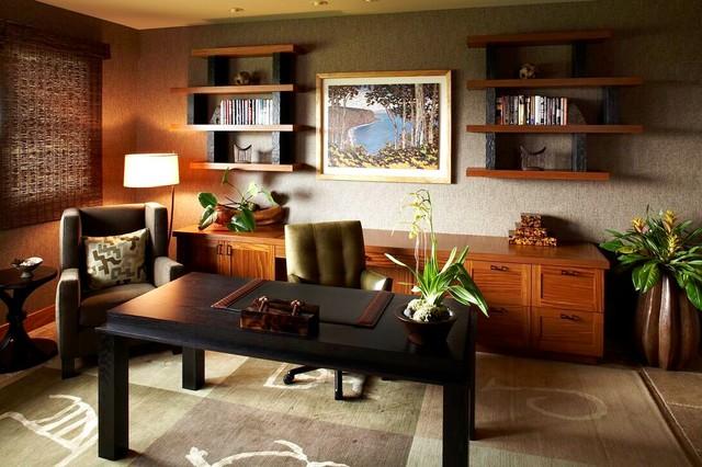 Hawaiian Ethnic Retreat Tropical Home Office