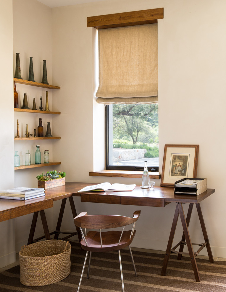 Cottage carpeted home office photo in San Francisco with white walls