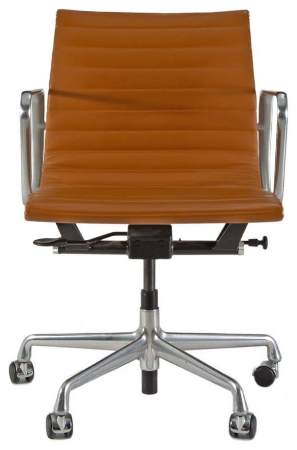 Herman Miller Tan Leather Eames Desk Chair Midcentury Home Office New York By Decor Nyc Luxury Home Consignment Gallery
