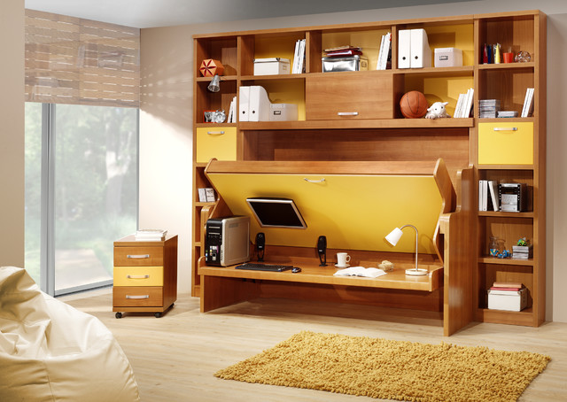 Hidden Bed With Desk Contemporary