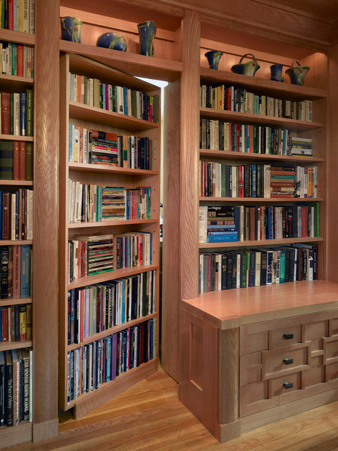 example of a mid sized asian light wood floor and beige floor home office library - Wall Sized Bookshelves