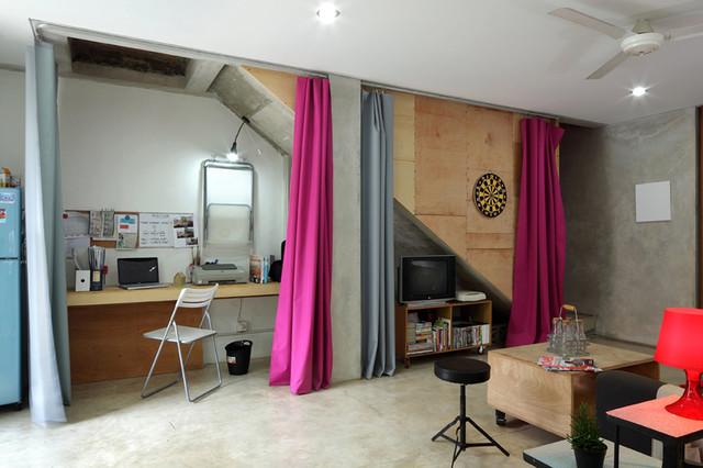 curtain office curtains hidden office under stair idea pink office