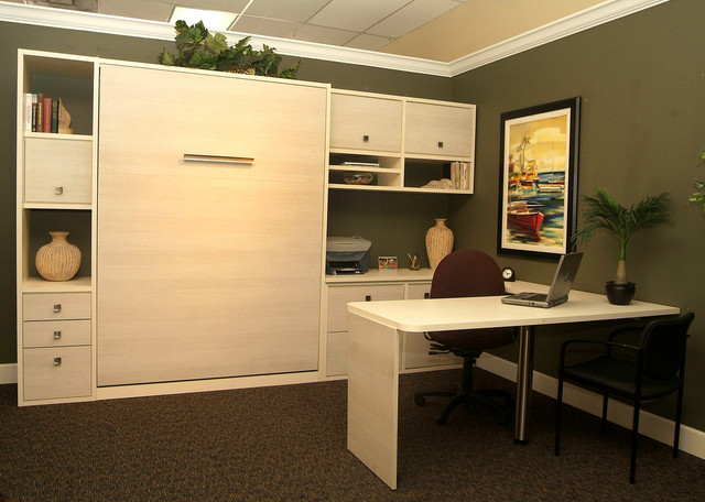 hidden panel bed with built in office traditional bedroom bed in office