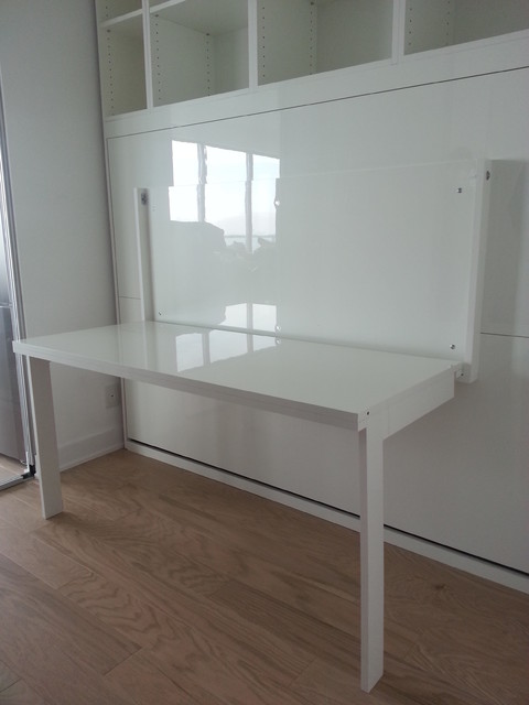 High Gloss White Murphy Bed With Desk Contemporary Home Office