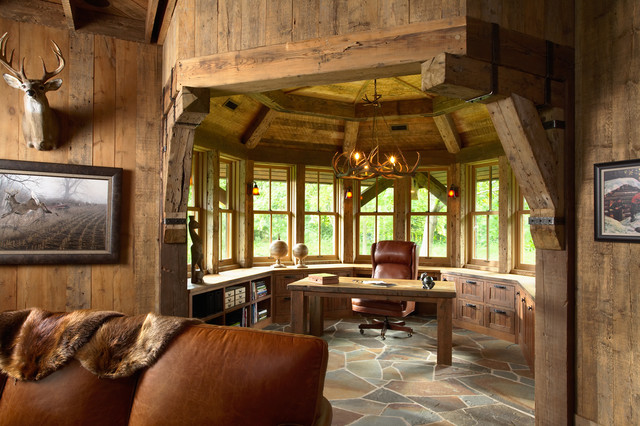 Highcroft hunting barn rustic home office for Barn style interior design