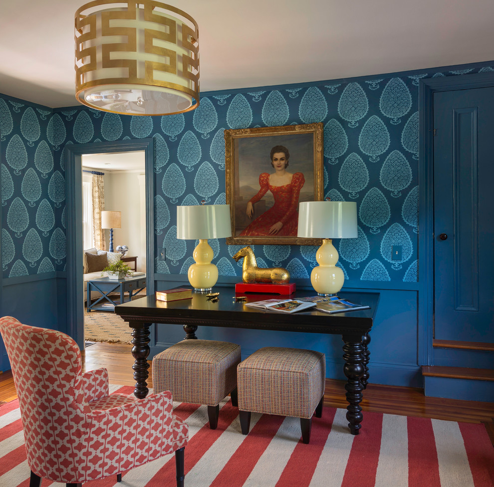 Inspiration for a coastal freestanding desk medium tone wood floor home office remodel in Providence with blue walls