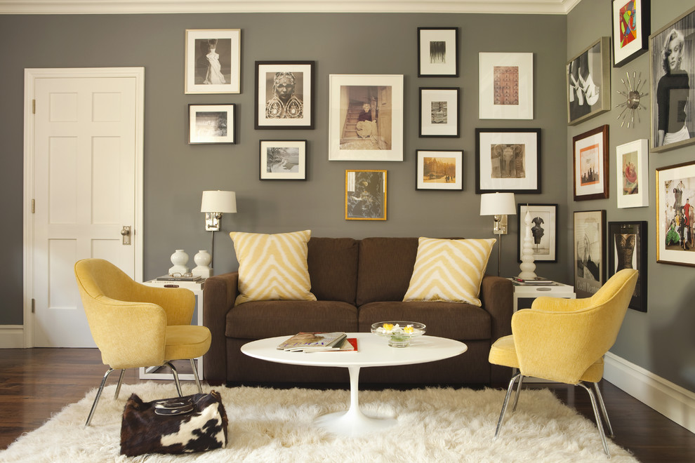 Transitional home office photo in Los Angeles with gray walls