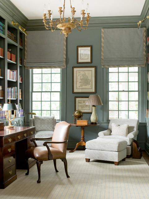 Mid-sized elegant freestanding desk study room photo in Atlanta with green walls