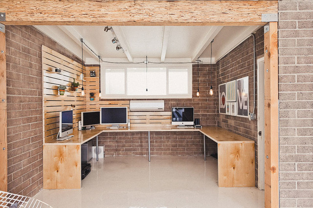 Hipster Work Studio - Industrial - Home Office & Library - Orange ...