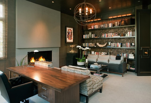 Hollywood glamour meets modern modern home office for Modern home decor san diego
