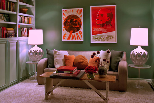 transitional home office Good Design Wants You! Propaganda Art In Your Home Decor