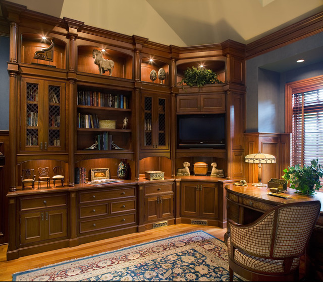 Home library traditional home office new york by carisa mahnken design guild Traditional home library design ideas