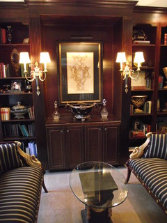 Home Library In Black And Gold Traditional Office