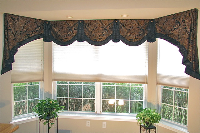 Home Office Bay Window Valance Transitional