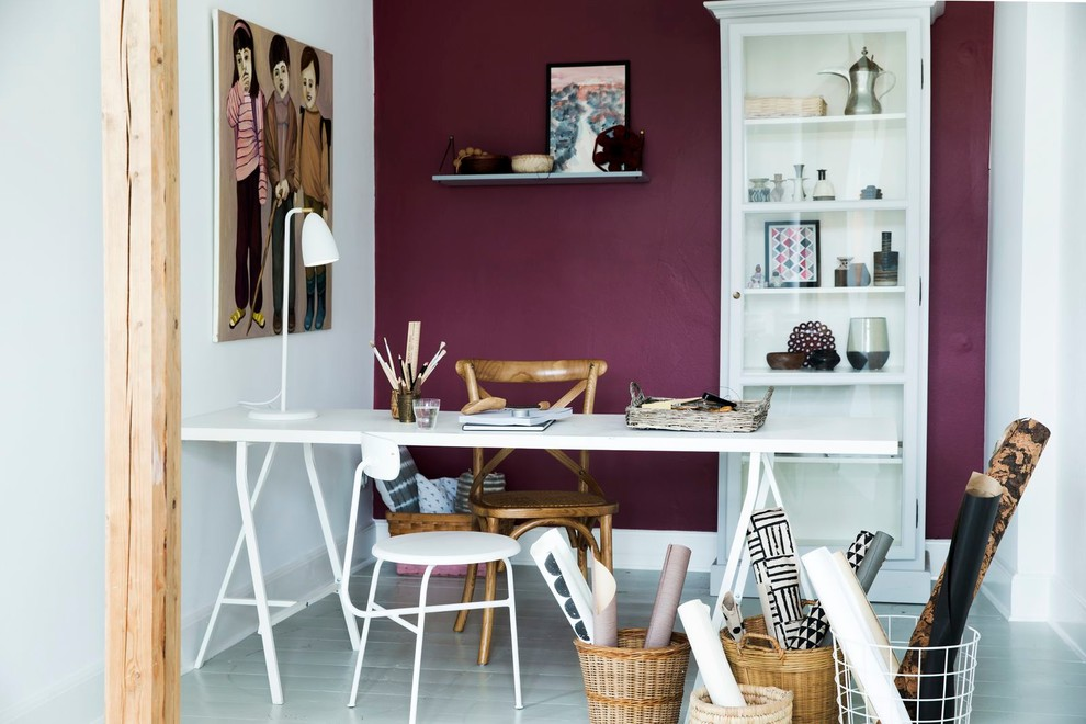 Example of a small transitional freestanding desk painted wood floor and gray floor study room design in Other with purple walls