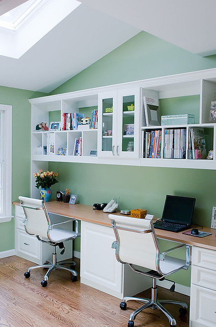 Beau Home Office For Two, Roslyn Contemporary Home Office