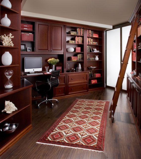 Home Office In Cherry Wood Traditional Home Office