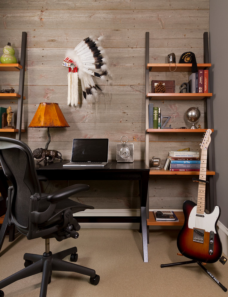 Trendy freestanding desk carpeted home office photo in Minneapolis with gray walls