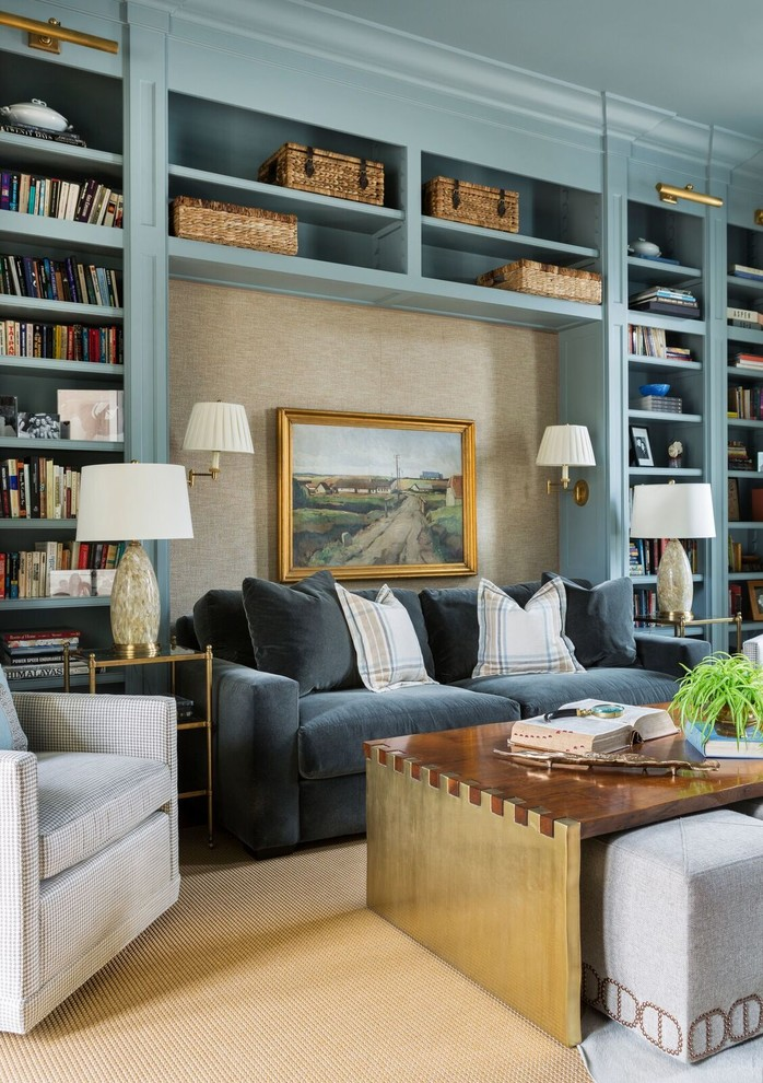 Large elegant freestanding desk home office library photo in Little Rock with blue walls and no fireplace