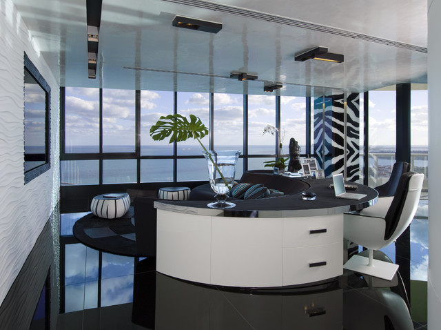 home office living room modern home office miami by nieto design group. Black Bedroom Furniture Sets. Home Design Ideas