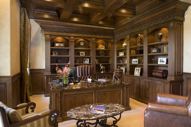 Home office traditional home office las vegas by macaluso designs inc Traditional home library design ideas