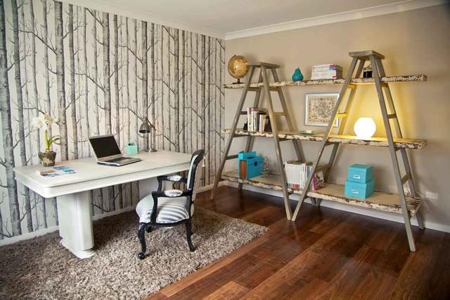 Inspiration for an eclectic freestanding desk dark wood floor home office remodel in Sydney with beige walls
