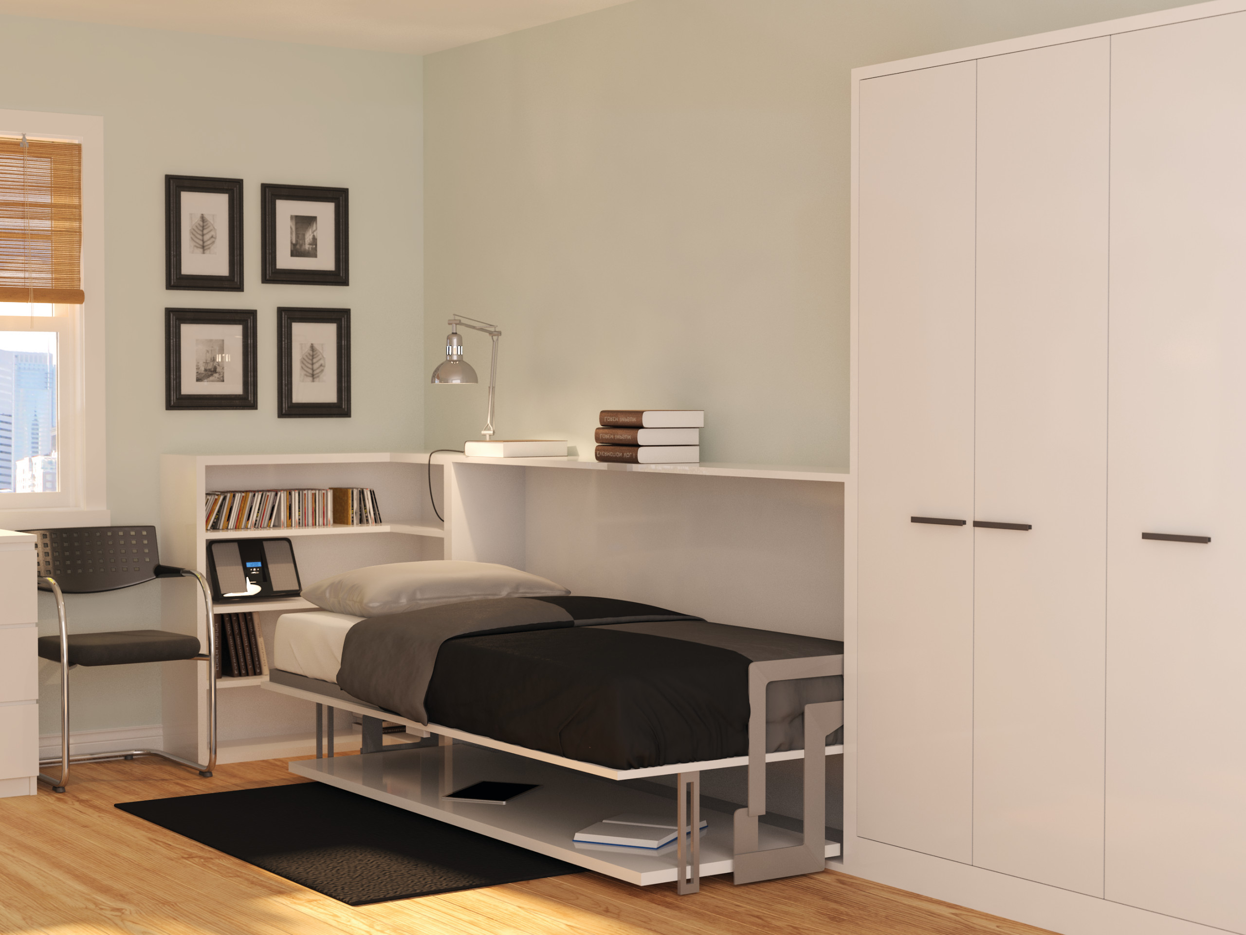 Custom Built in Desk with Pullout Murphy Bed