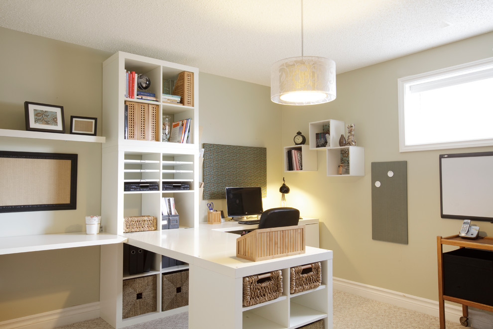 traditional home office with white desk