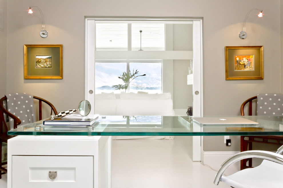 Home office - contemporary home office idea in Orlando with gray walls