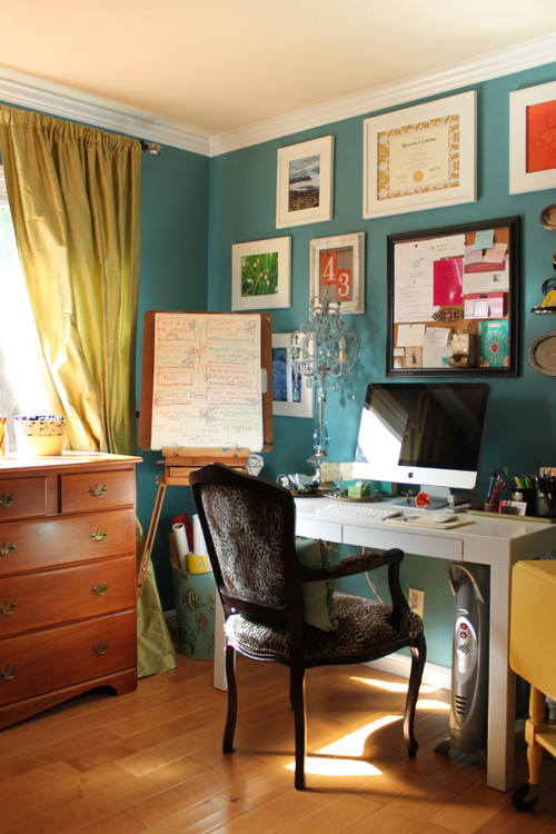 eclectic home office turquoise and yellow