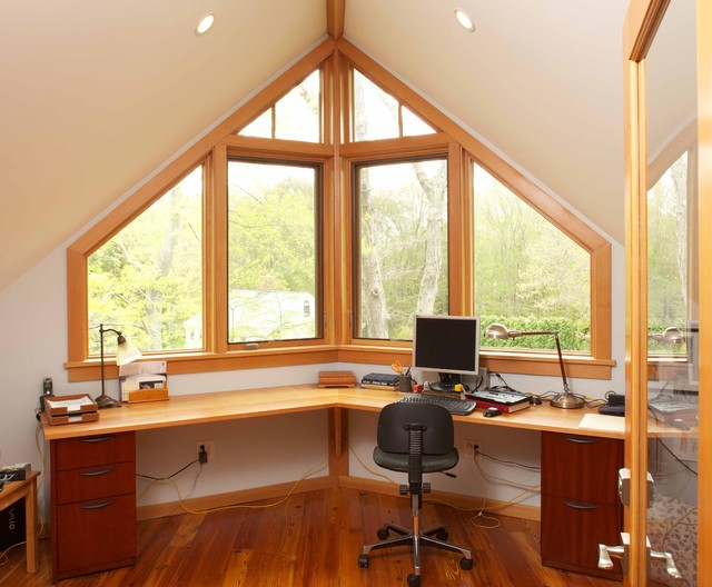 Home office tucked into attic space eclectic-home-office
