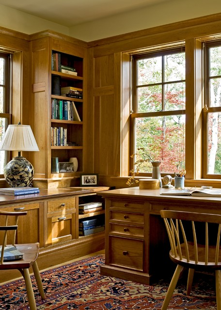 Home office with cherry cabinetry rustic-home-office
