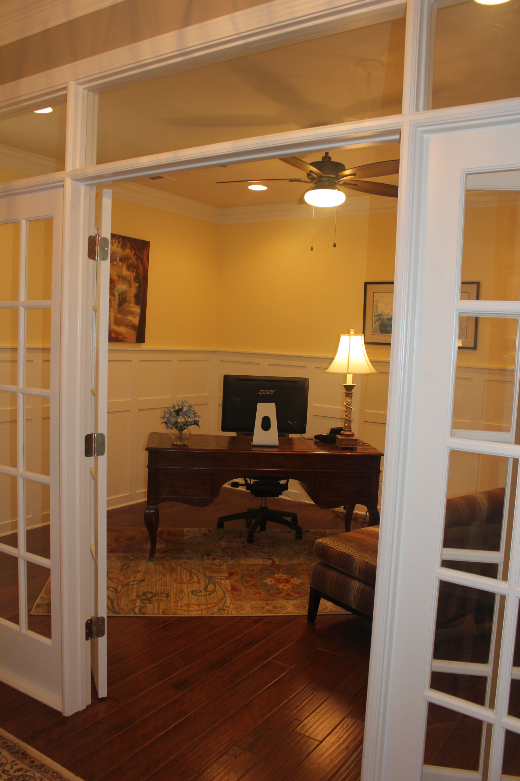 Home Office with Custom Wainscoting.