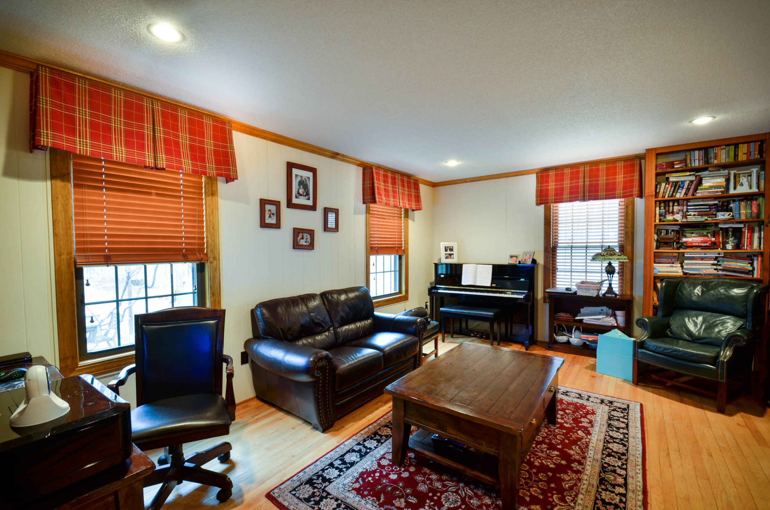 Home Office with plaid boxpleat valances and Hunter Douglas Parkland Wood Blinds